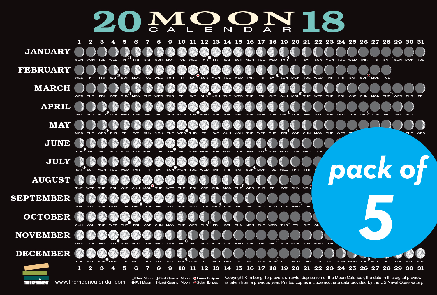 2018 Moon Calendar Card (5-pack) - Workman Publishing