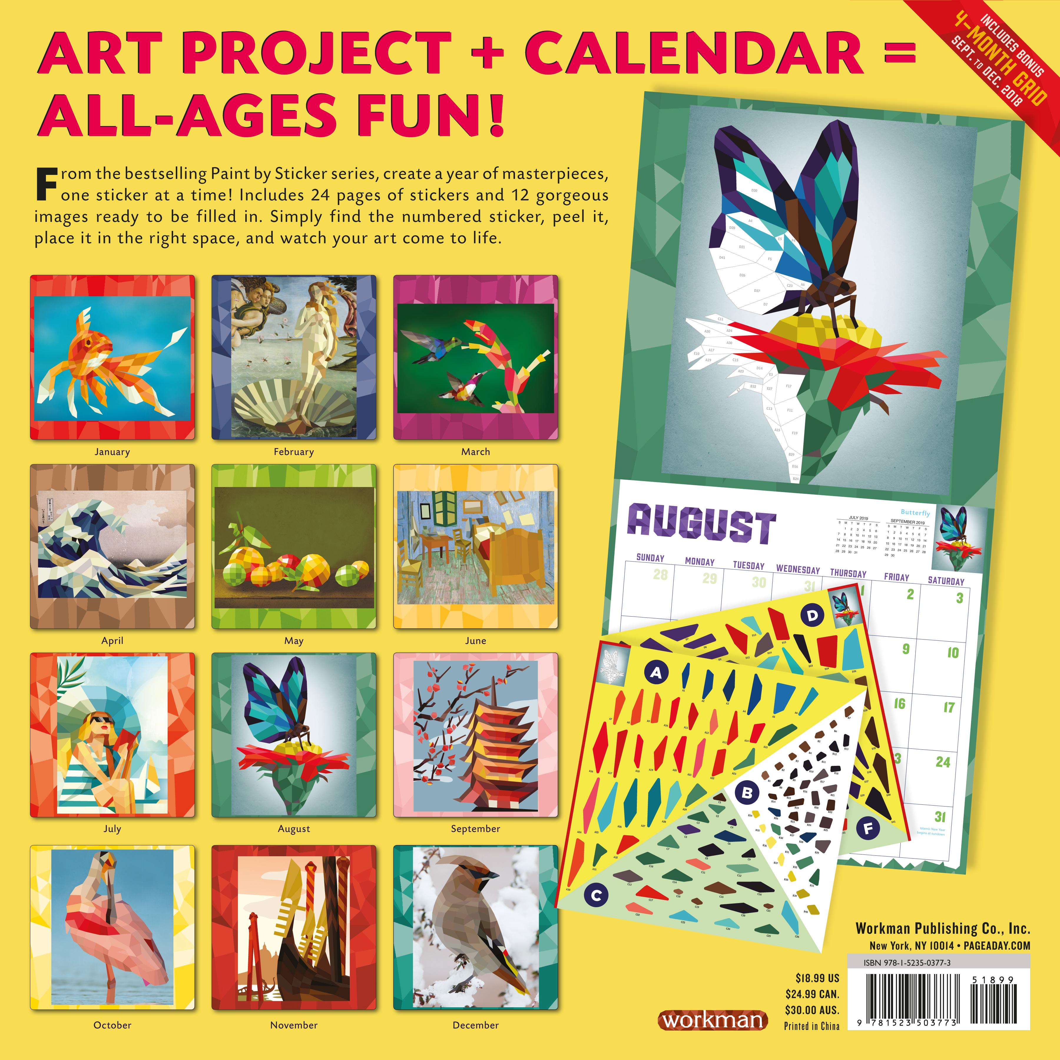 Paint by Sticker Wall Calendar 2019 - Workman Publishing