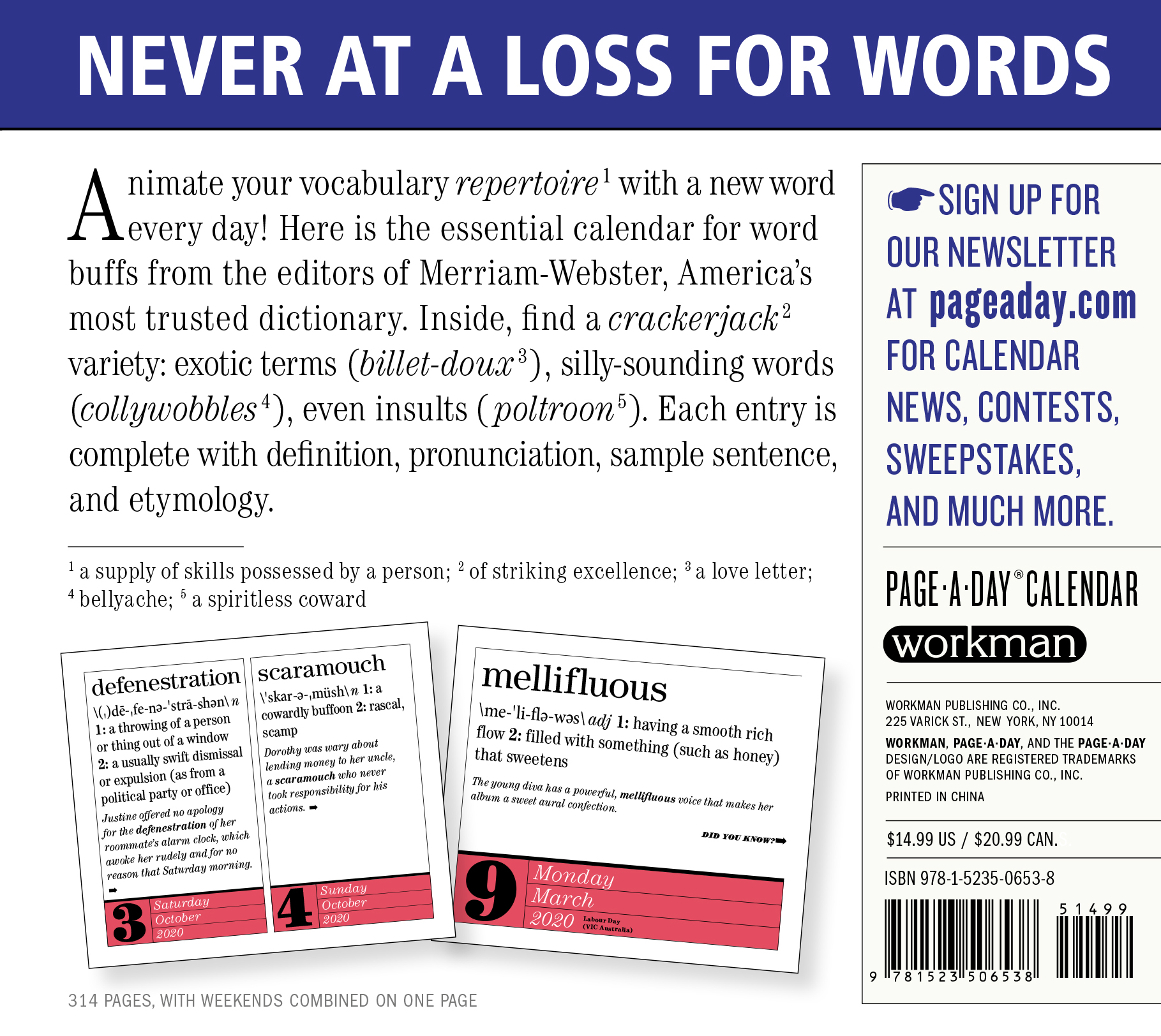 New Words 2020 365 New Words A Year Page A Day Calendar 2020   Workman Publishing