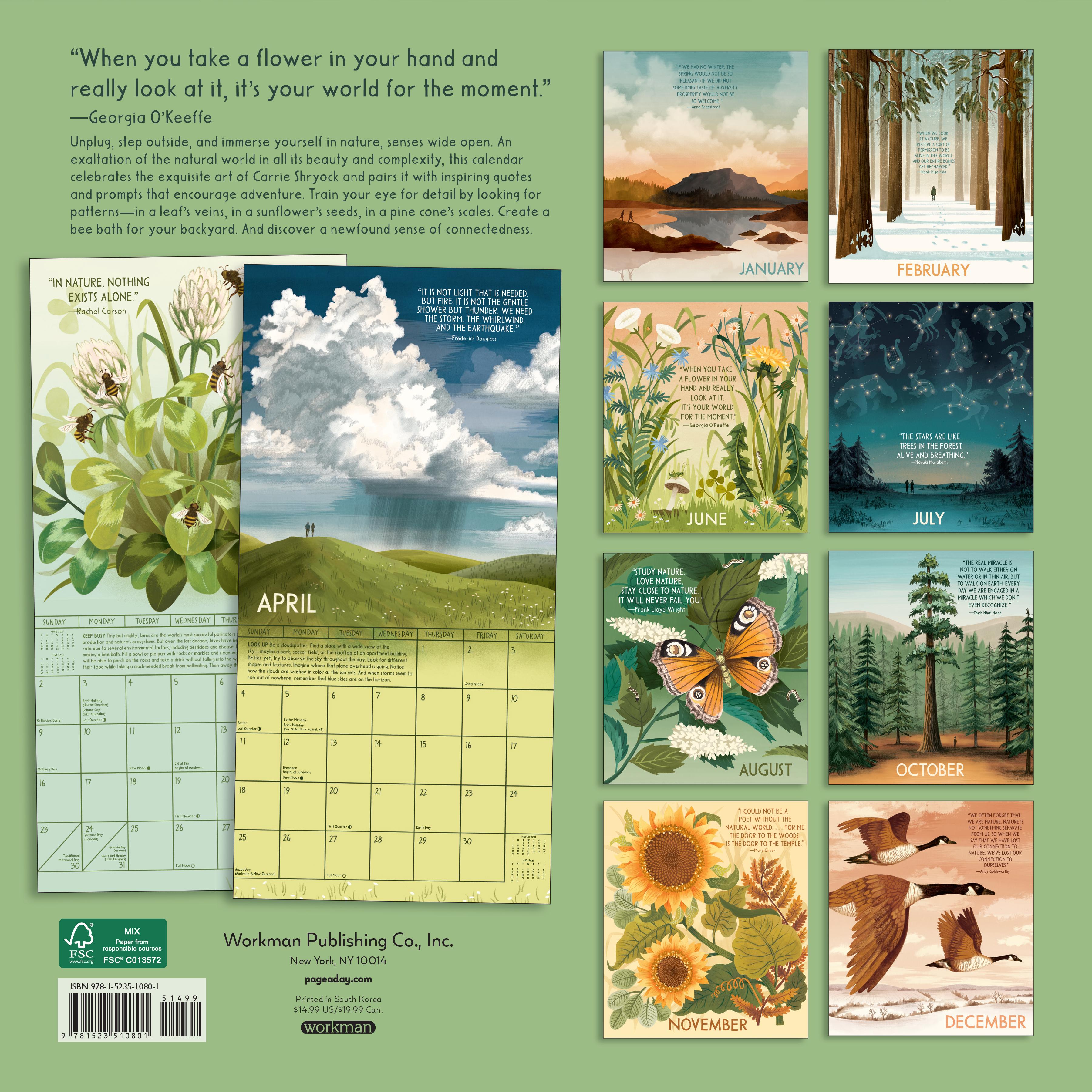 Living in Nature Wall Calendar 2021   Workman Publishing