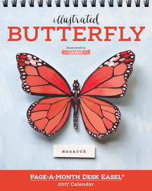 Illustrated Butterfly Page-A-Month Desk Easel Calendar 2017 - cover