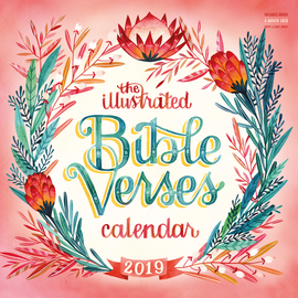 Illustrated Bible Verses Wall Calendar 2019 - cover
