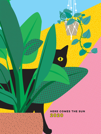 Here Comes the Sun 17-Month Personal Planner with 500+ Stickers 2019-2020 - cover