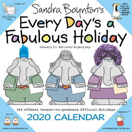 Sandra Boynton's Every Day's a Fabulous Holiday 2020 Wall Calendar - cover