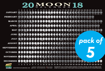 2018 Moon Calendar Card (5-pack) - cover