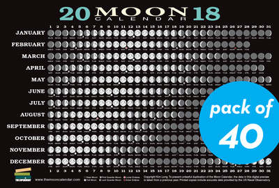 2018 Moon Calendar Card (40-pack) - cover