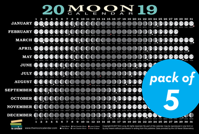 2019 Moon Calendar Card (5 pack) - cover