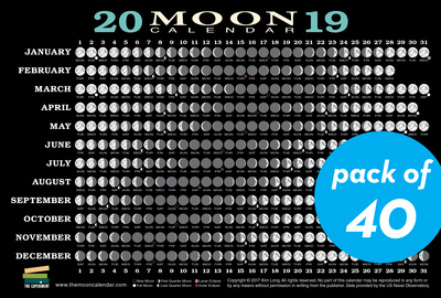 2019 Moon Calendar Card (40 pack) - cover