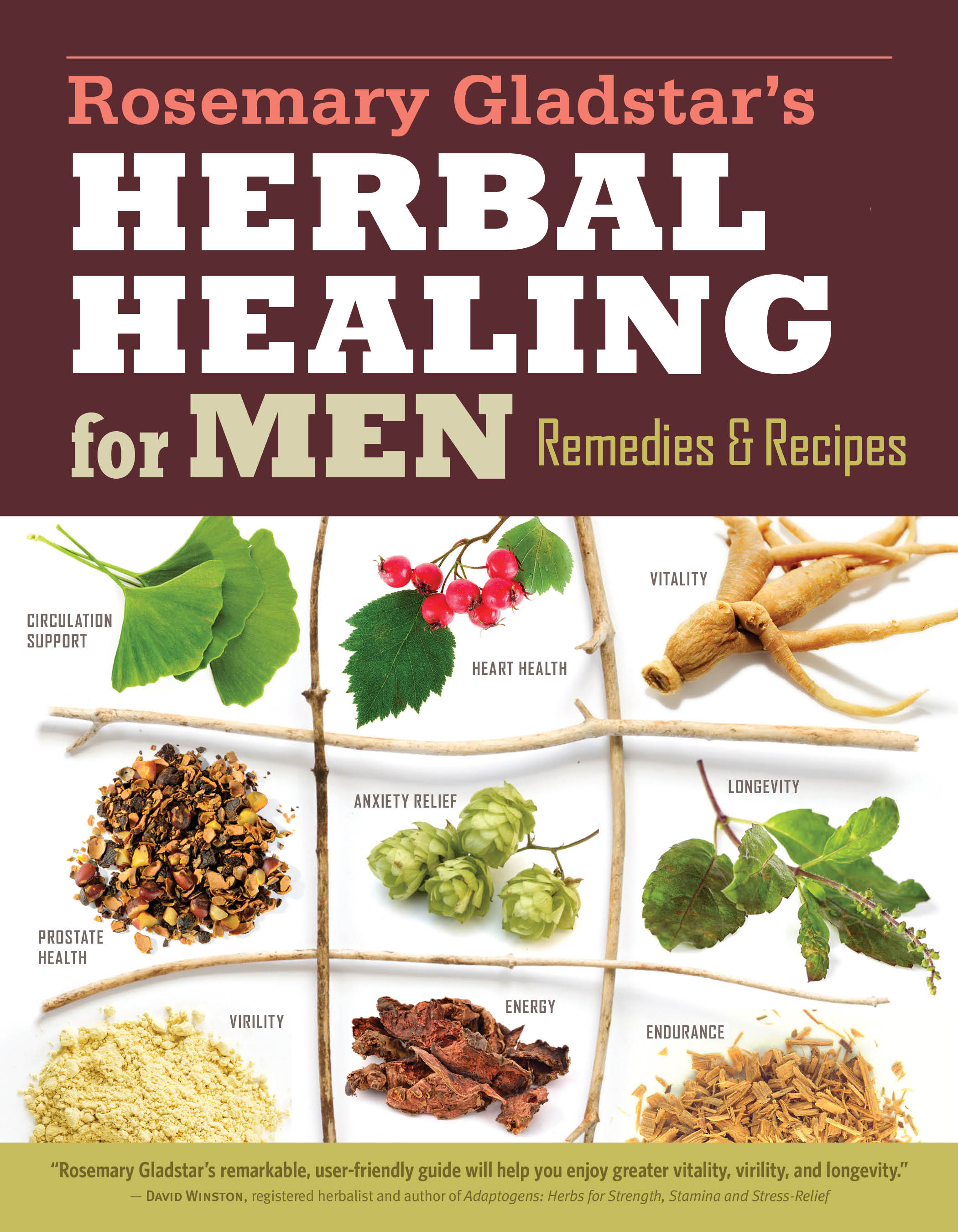 Rosemary Gladstar's Herbal Healing for Men Remedies and Recipes for Circulation Support, Heart Health, Vitality, Prostate Health, Anxiety Relief, Longevity, Virility, Energy & Endurance - Rosemary Gladstar