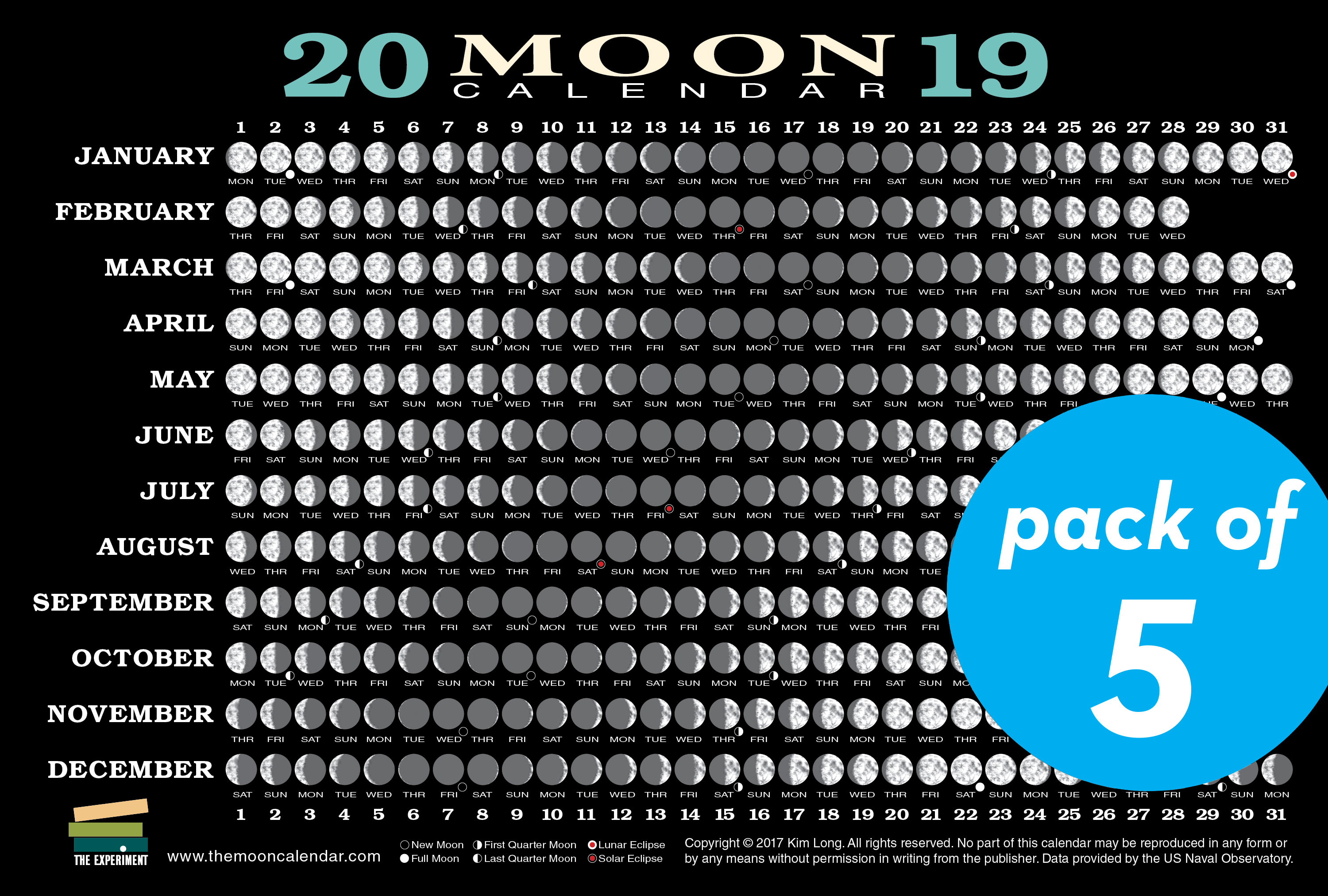2019 Moon Calendar Card 5 Pack Workman Publishing