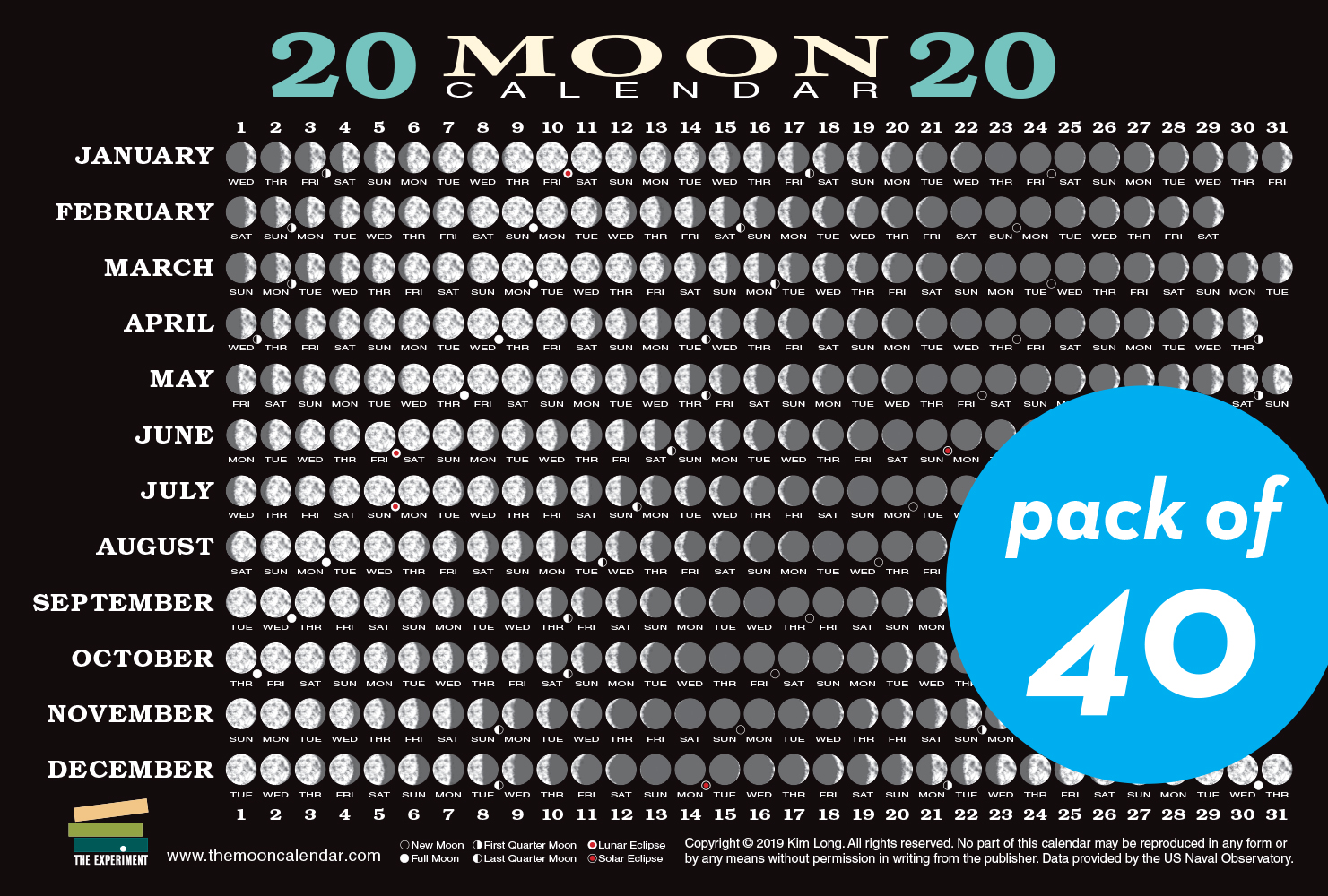 Moon Phases Calendar.2020 Moon Calendar Card 40 Pack Workman Publishing