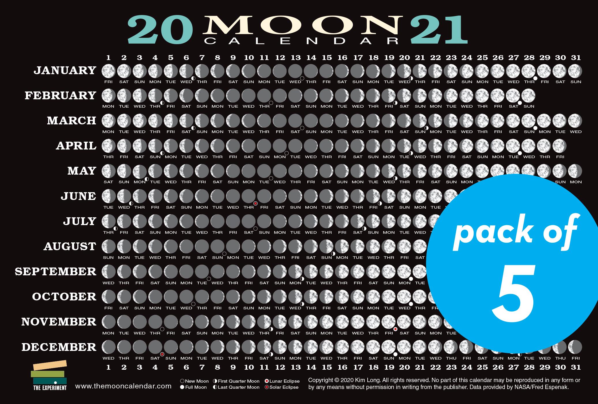 2021 Moon Calendar Card (5 pack) - Workman Publishing