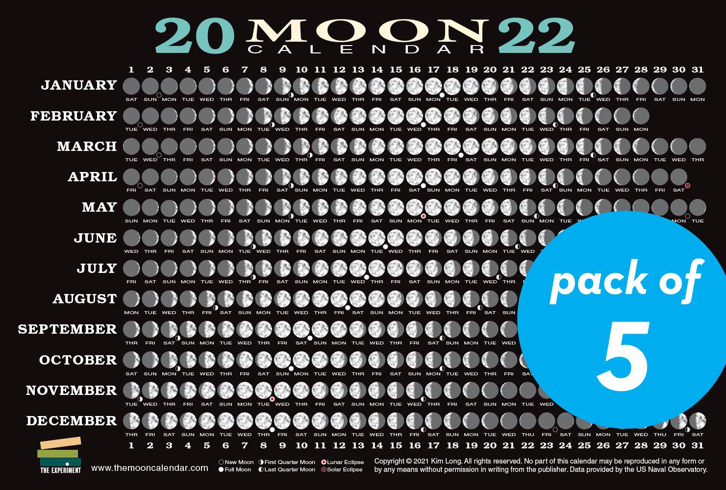 2022 Moon Calendar.2022 Moon Calendar Card 5 Pack Workman Publishing