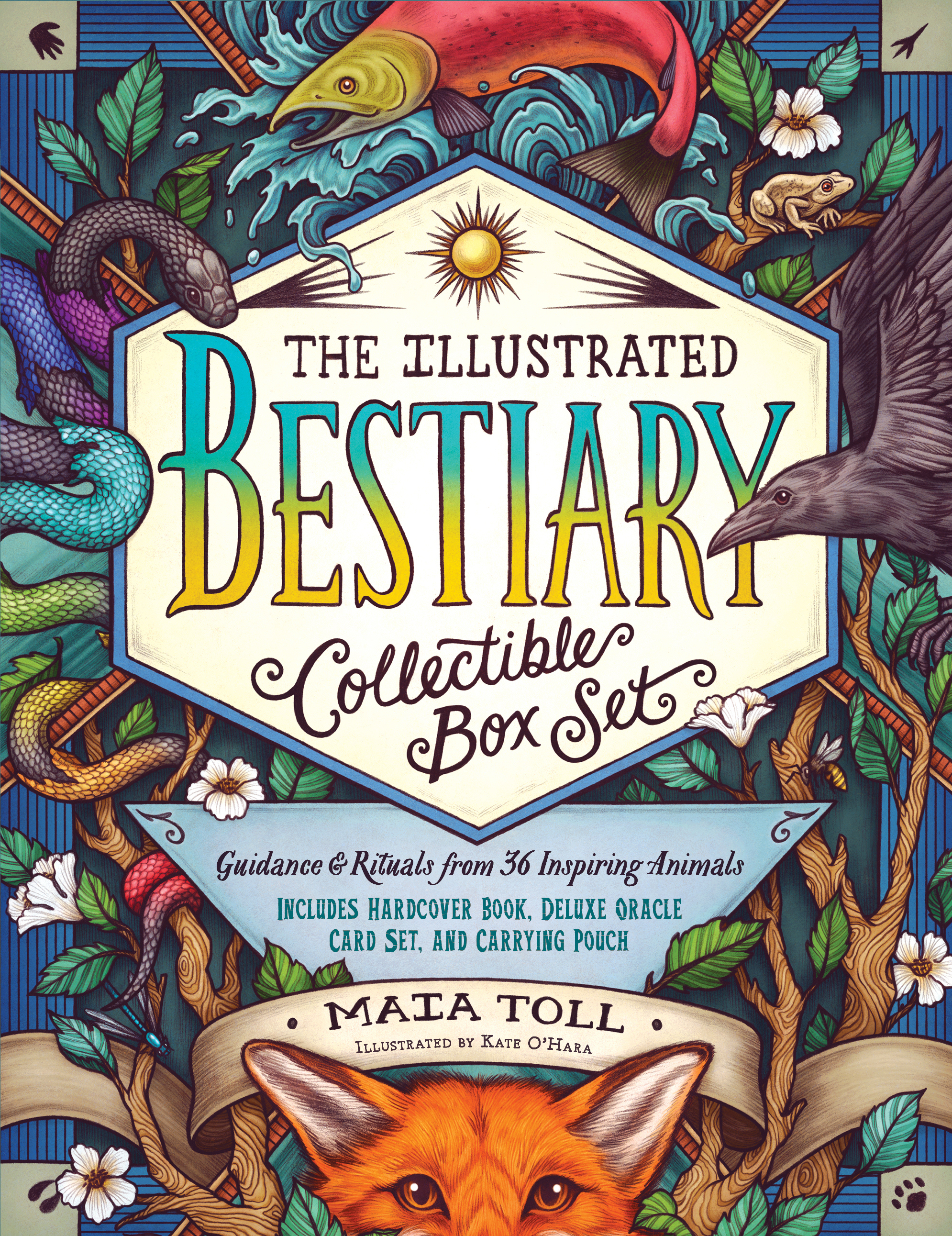 The Illustrated Bestiary Collectible Box Set Guidance and Rituals from 36 Inspiring Animals; Includes Hardcover Book, Deluxe Oracle Card Set, and Carrying Pouch - Maia Toll