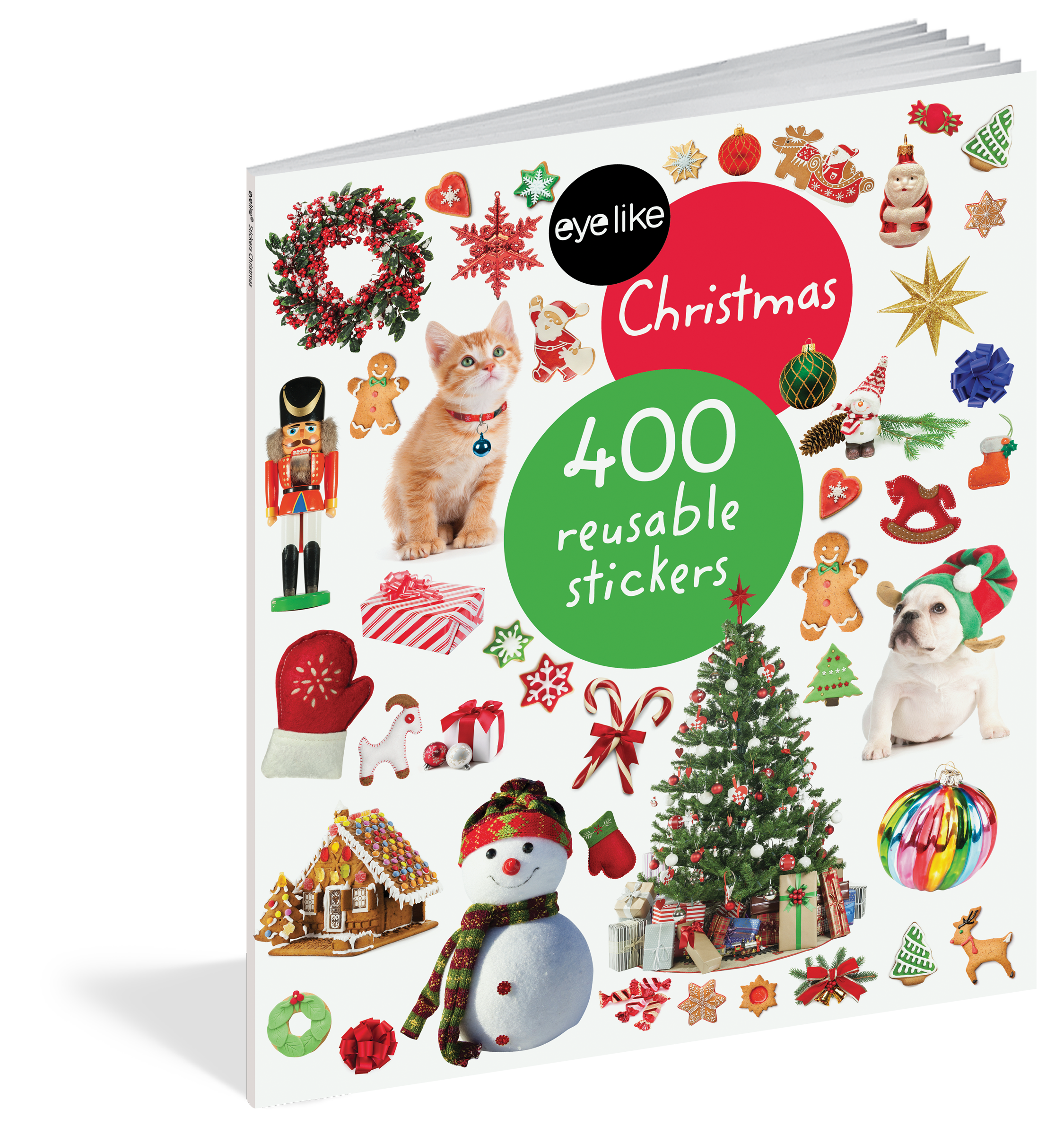 EyeLike Stickers: Christmas celebrates the biggest holiday of the year with 400 high-quality, photographic images that are amazingly lifelike in color and detail. The durable, reusable stickers are designed to be stuck on and peeled off over and over again without losing adhesive. Ornaments and Santa hats, reindeer and an old-fashioned sleigh, trees to decorate, stockings to hang, presents to unwrap—every page of stickers captures the feeling of Christmas.